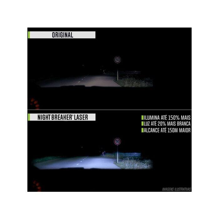 Lâmpada Night Breaker Laser H7 Par Farol 150% + Luz Osram  - Rea Comércio - Sua Loja Completa!