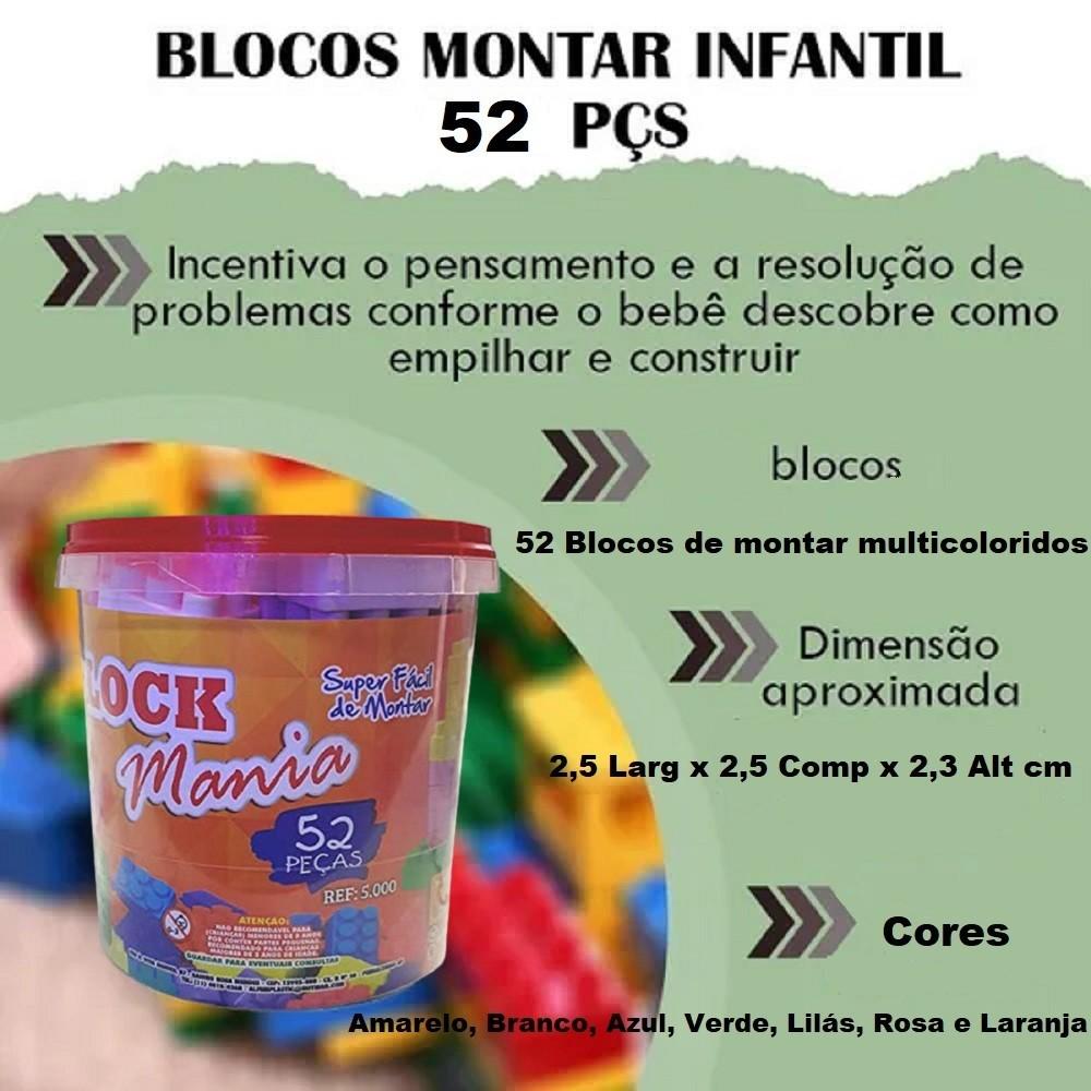 LEGO 52 PECAS / BLOCK / MONTA MONTA  - Rea Comércio - Sua Loja Completa!