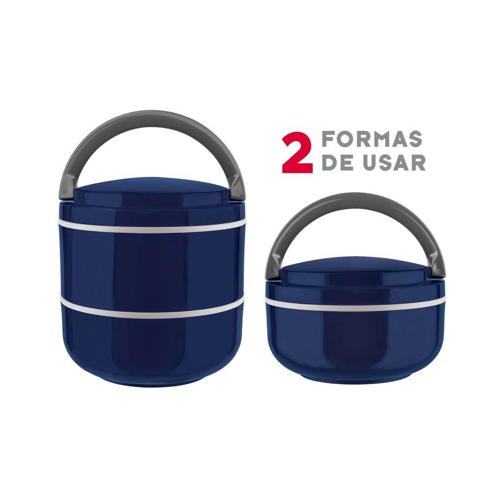 Marmita Lunch Box Microondas Dupla 1,4L - Euro Home - Azul  - Rea Comércio - Sua Loja Completa!