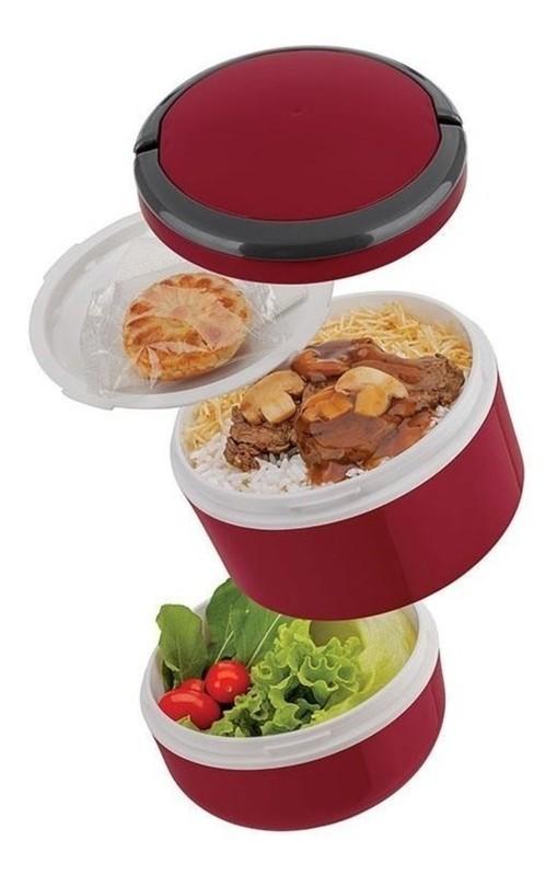 Marmita Lunch Box Microondas Dupla 1,4L - Euro Home - Vermelho  - Rea Comércio - Sua Loja Completa!