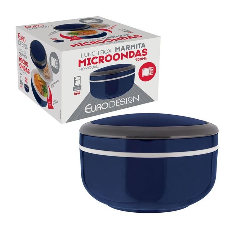 Marmita Lunch Box Microondas Individual 700ML- Euro Home - Azul  - Rea Comércio - Sua Loja Completa!