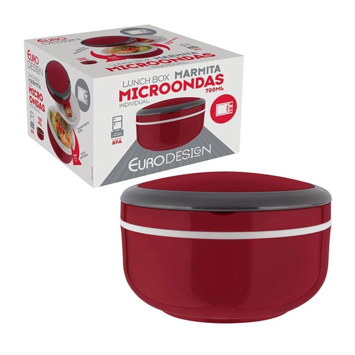 Marmita Lunch Box Microondas Individual 700ML- Euro Home - Vermelho   - Rea Comércio - Sua Loja Completa!