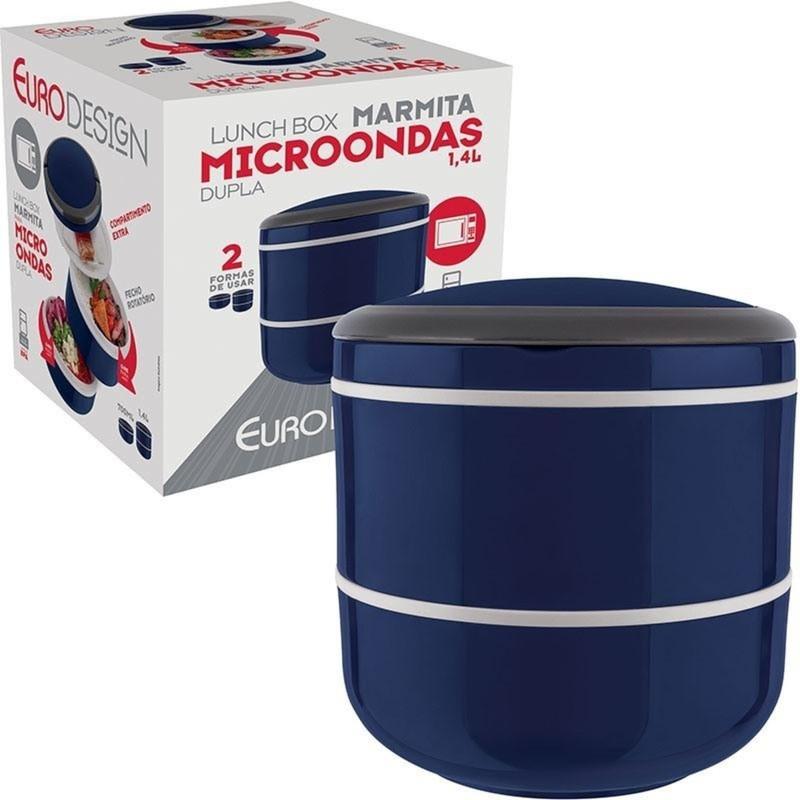 Marmita Lunch Box Pote Microondas Dupla 1,4l Euro Home  - Rea Comércio - Sua Loja Completa!