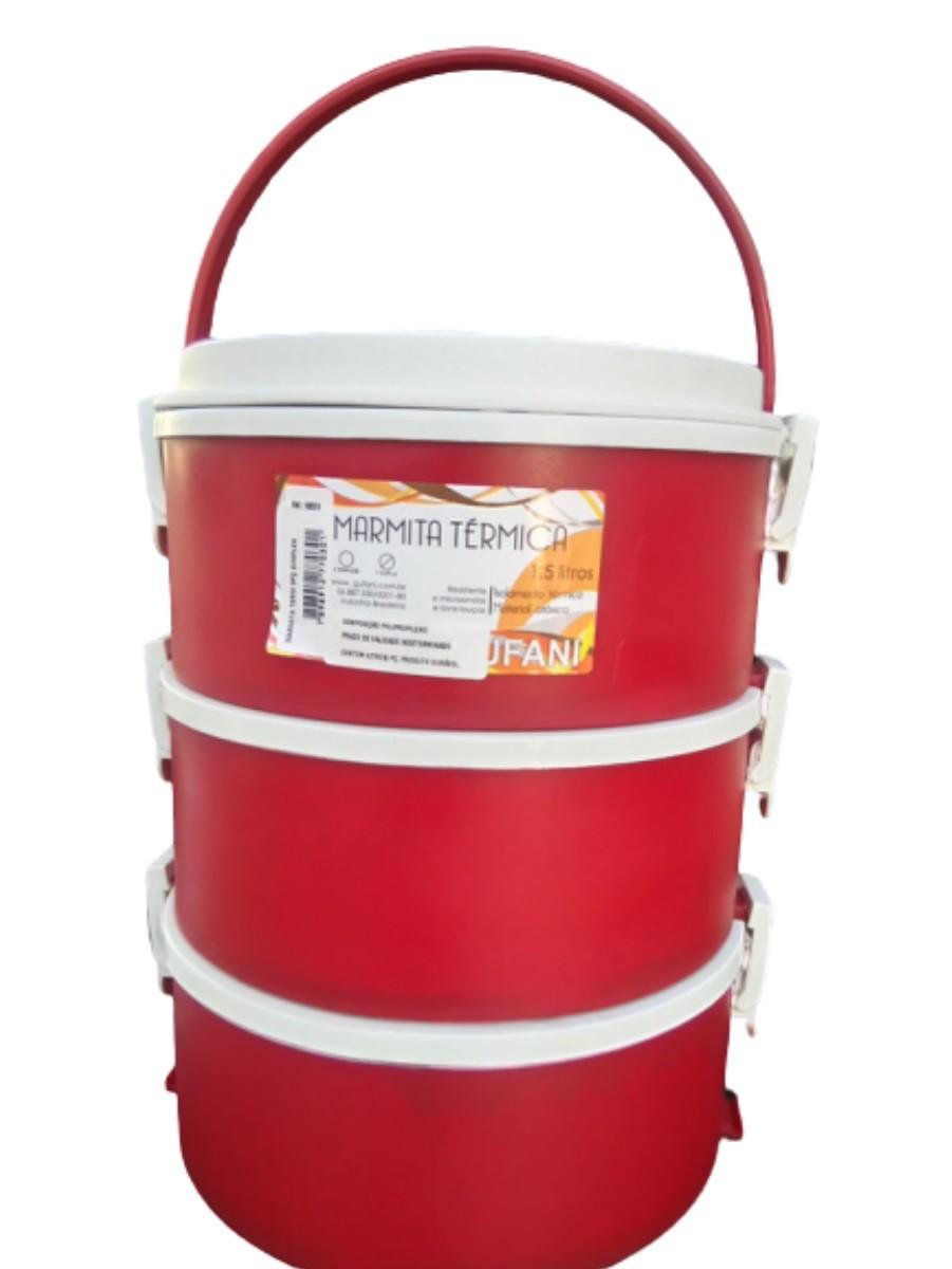 Marmita Térmica 3 Andares Com Alça Dobrável 1,5l Vermelho Gu  - Rea Comércio - Sua Loja Completa!