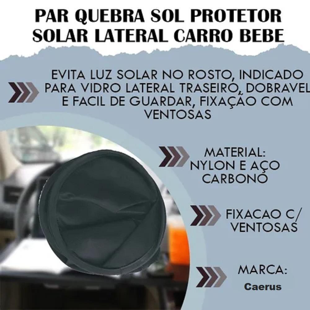 Quebra Para-Sol Lateral Preto Universal com Suporte Ventosa   - Rea Comércio - Sua Loja Completa!