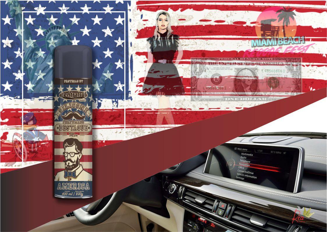 Silicone Perfumado Spray Destaque Men América 400ml  - Rea Comércio - Sua Loja Completa!