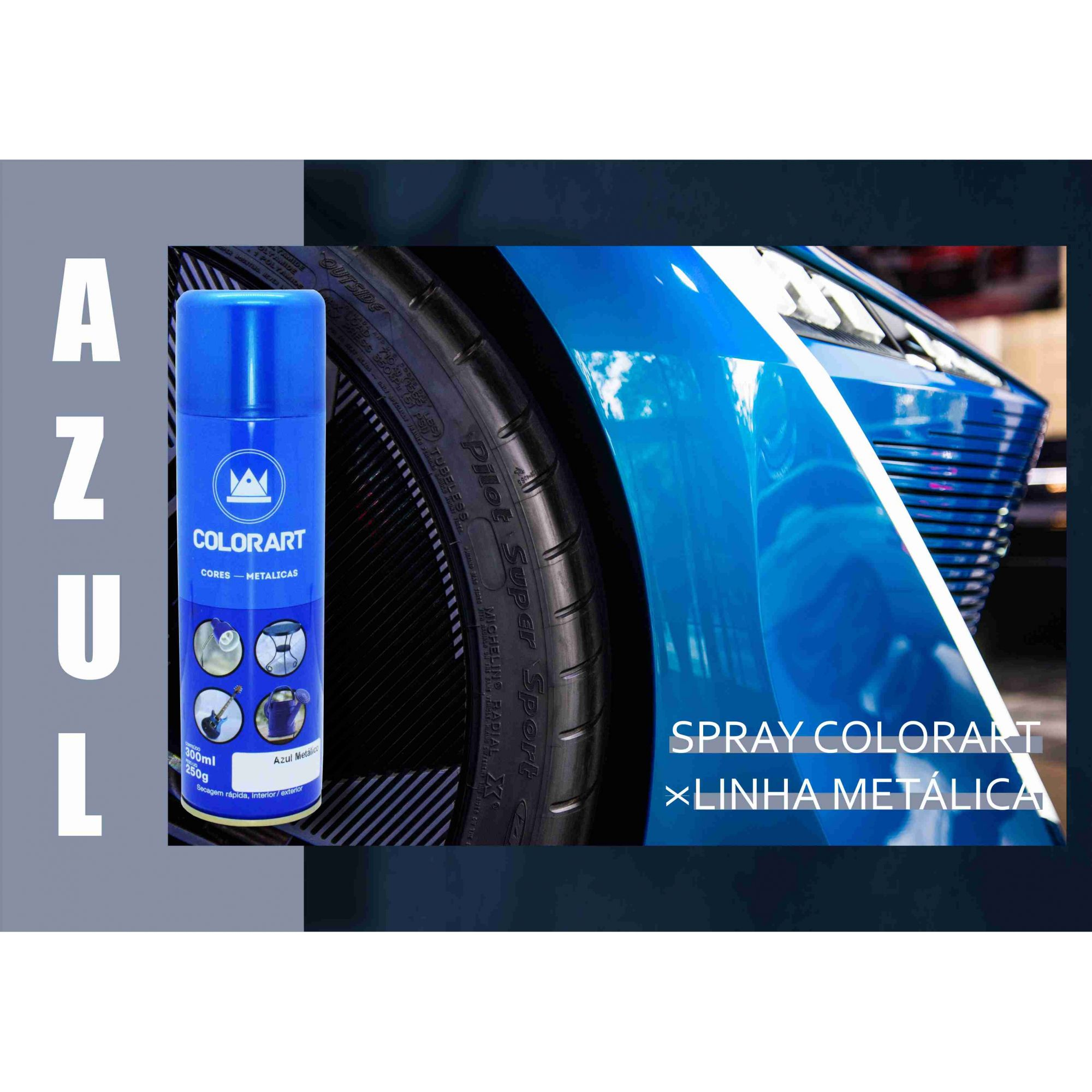 Tinta Spray Azul Metálico ColorArt  - Rea Comércio - Sua Loja Completa!