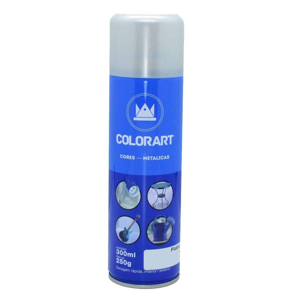 Tinta Spray Cores Metálicas Colorart Platina  - Rea Comércio - Sua Loja Completa!