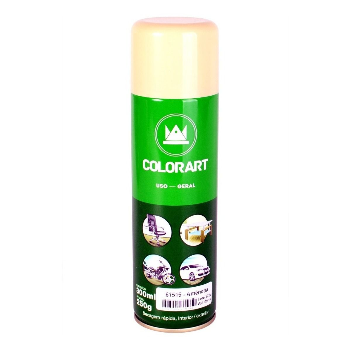 Tinta Spray Uso Geral Colorart Amêndoa  - Rea Comércio - Sua Loja Completa!
