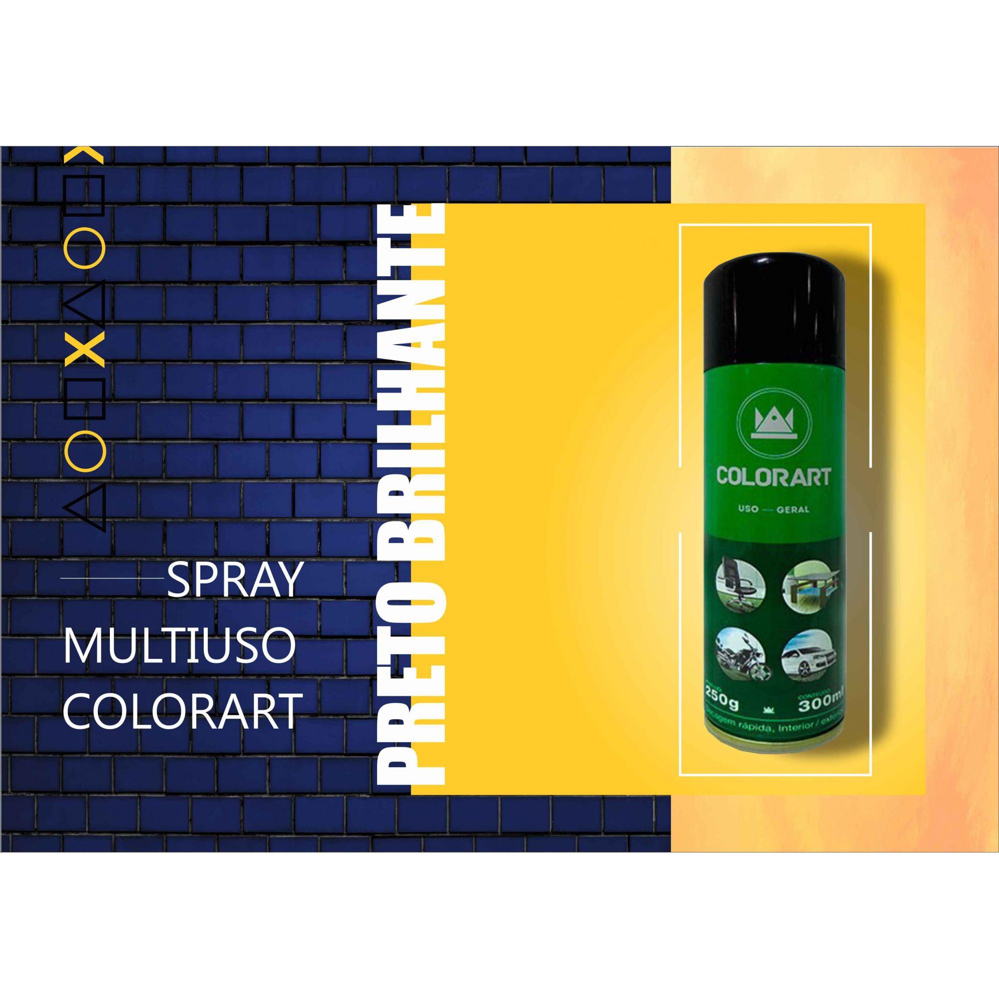 Tinta Spray Uso Geral Colorart Preto Brilhante  - Rea Comércio - Sua Loja Completa!