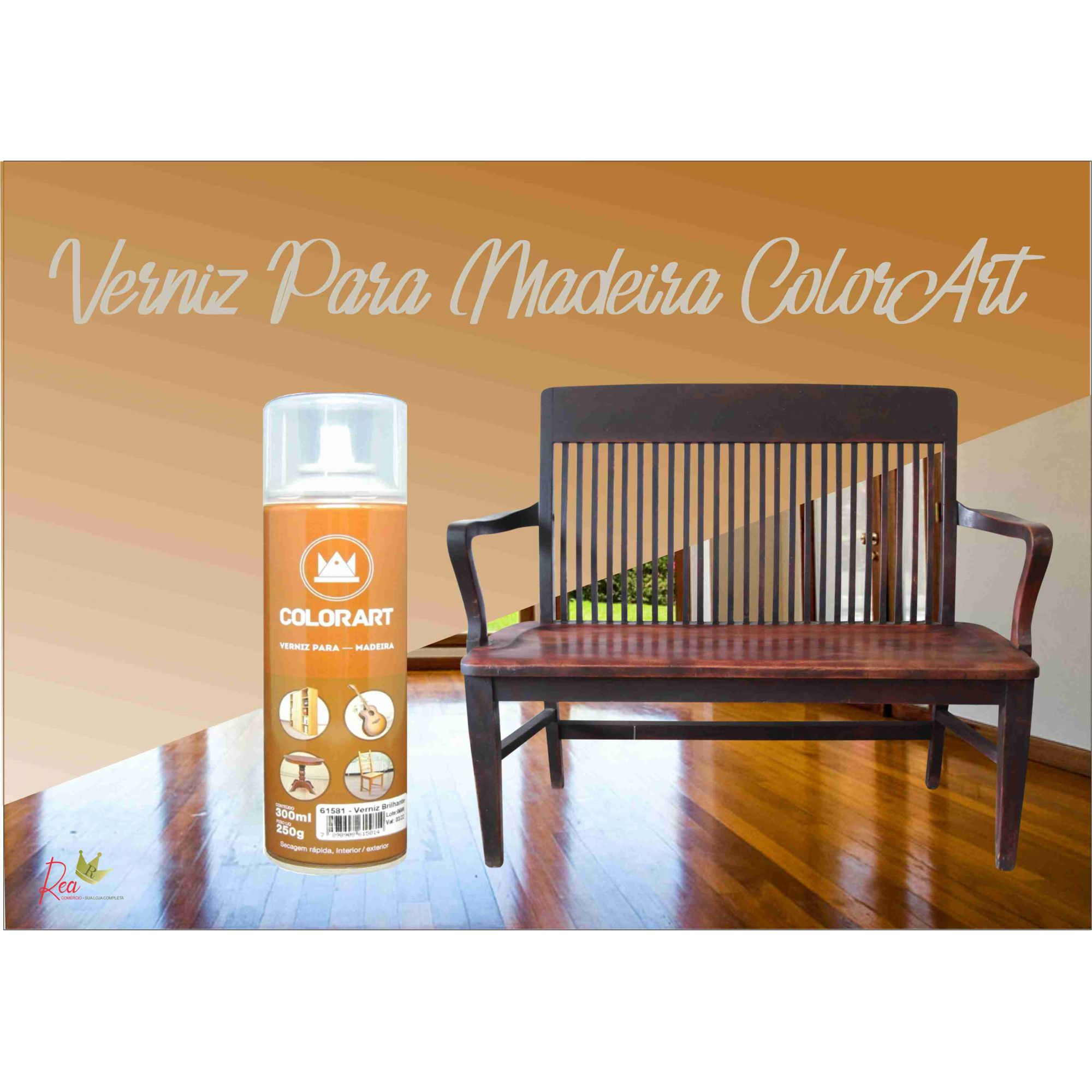 Tinta Spray Verniz Natural Brilhante para Madeira Colorart