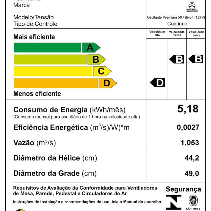 Ventilador de Coluna Premium 50 cm Preto - Venti-Delta  - Rea Comércio - Sua Loja Completa!