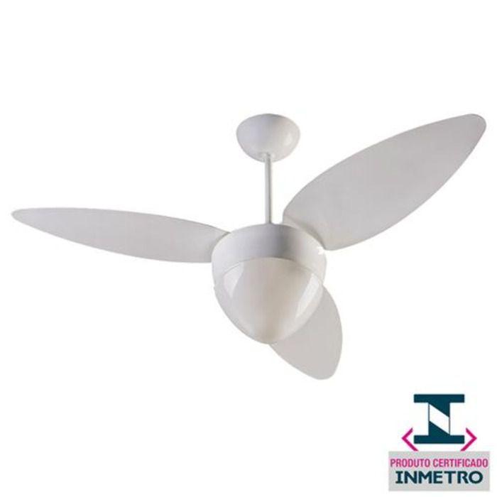Ventilador de Teto Aires 3 Pás com Luminária Branco - 127V -