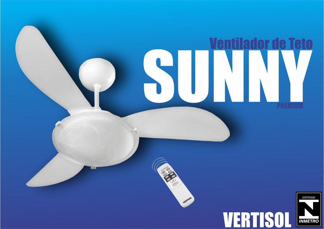 Ventilador de Teto Sunny 3 Pás 3 Velocidades com Controle -   - Rea Comércio - Sua Loja Completa!