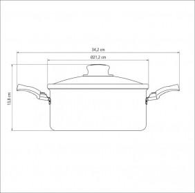 Cacarola em Aluminio Antiaderente com Tampa de Vidro Tramontina Turim 20 CM 2,80 Litros Vermelha 20261/720