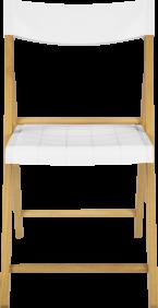 Cadeira de Madeira Tramontina Dobravel sem Braco em Madeira Tauari Envernizada e Polipropileno Branco