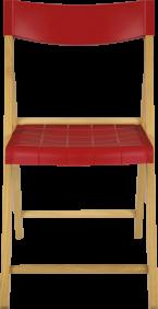 Cadeira de Madeira Tramontina Dobravel sem Braco em Madeira Tauari Envernizada e Polipropileno Vermelho