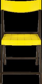 Cadeira de Madeira Tramontina Dobravel sem Braco em Madeira Tauari Tabaco e Polipropileno Amarelo