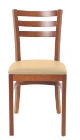 Cadeira de Madeira Tramontina Paris Gigi em Tauari Amendoa com Encosto Vazado e Estofado em Corino Bege sem Bracos