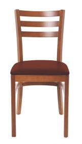 Cadeira de Madeira Tramontina Paris Gigi em Tauari Amendoa com Encosto Vazado e Estofado em Corino Cafe sem Bracos