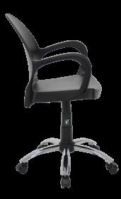Cadeira Tramontina Grace Preta em Polipropileno com Rodizio e Bracos