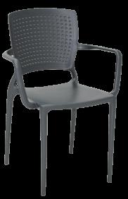 Cadeira Tramontina Safira Grafite em Polipropileno e Fibra de Vidro com Bracos