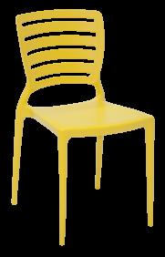 Cadeira Tramontina Sofia Amarela sem Bracos Encosto Vazado Horizontal em Polipropileno e Fibra de Vidro