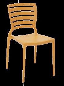 Cadeira Tramontina Sofia Laranja sem Bracos Encosto Vazado Horizontal em Polipropileno e Fibra de Vidro