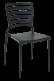Cadeira Tramontina Sofia Preta sem Bracos Encosto Vazado Horizontal em Polipropileno e Fibra de Vidro