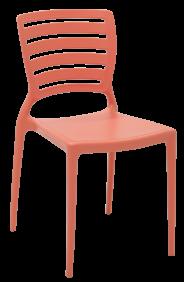 Cadeira Tramontina Sofia Rosa Coral sem Bracos Encosto Vazado Horizontal em Polipropileno e Fibra de Vidro