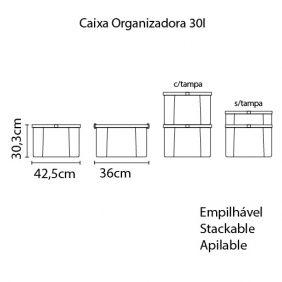 Caixa Organizadora Tramontina Basic com Tampa em Plastico Grafite 30 L