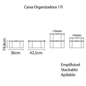 Caixa Organizadora Tramontina Office 17L em Polipropileno Cinza