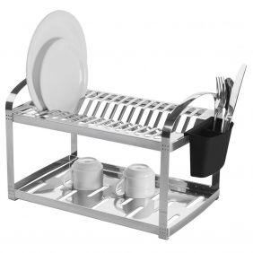 Escorredor Aço Inox 16 Pratos Com Escorredor de Talheres Plástico Brinox Suprema 2099/116