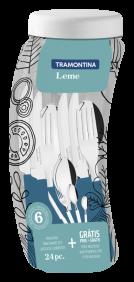Faqueiro Tramontina Leme com Laminas em ACO INOX e Cabos de Polipropileno AZUL Oceano com Pote Plastico 24 Pecas