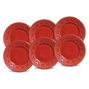 Jogo de Pratos de Sobremesa Porto Brasil Madeleine 6 Peças Vermelho 416594