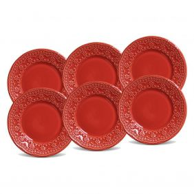 Jogo de Pratos de Sobremesa Porto Brasil Madeleine Vermelho 6 Peças 416594