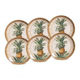Jogo de Pratos de Sobremesa Porto Brasil Pineapple Natural 6 Pecas 542094