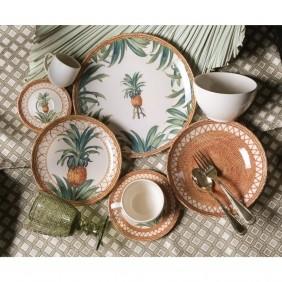 Jogo de Pratos Raso Porto Brasil Pineapple Natural 6 Pecas 542092