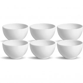 Jogo de Tigelas de Cerâmica 587 ml 6 Peças Bowl Branca Porto Brasil 61989