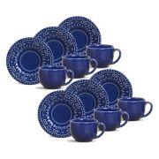Jogo de Xícaras de Chá 161 ml Porto Brasil Esparta 6 Peças Azul Navy 323586