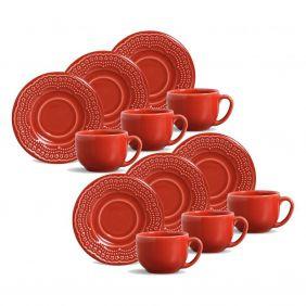 Jogo de Xícaras de Chá 161 ml Porto Brasil Madeleine 6 Peças Vermelho 416596
