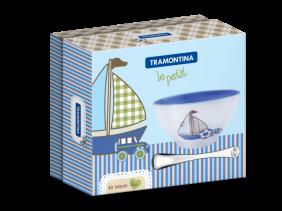 Kit Infantil Tramontina LE Petit AZUL com Cumbuca em Ceramica e Colher em ACO INOX