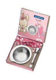 Kit Infantil Tramontina LE Petit para Refeicao Rosa em ACO INOX 3 Pecas