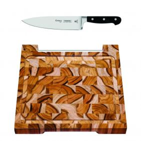 Kit MasterChef - Tábua Teca 30 X 30 Tramontina + Faca Chef 8