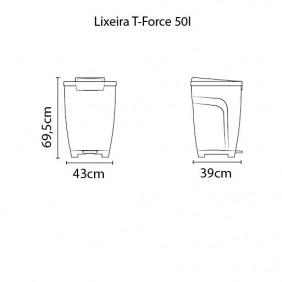 Lixeira Tramontina T-FORCE 50 L Cinza
