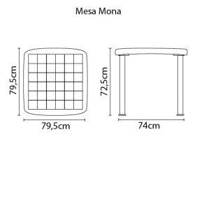 Mesa Quadrada Tramontina Mona Preta em Polipropileno com Pernas de Aluminio Anodizado
