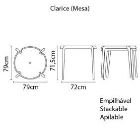 Mesa Redonda Tramontina Clarice Concreto em Polipropileno e Fibra de Vidro