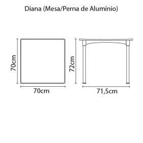 Mesa Tramontina Diana em Polipropileno com Pernas de Aluminio Anodizado Preto