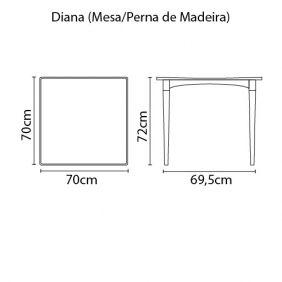 Mesa Tramontina Diana em Polipropileno com Pernas de Madeira Marrom