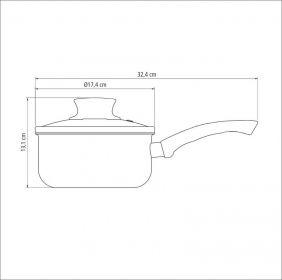 Panela em Aluminio Antiaderente com Tampa de Vidro Tramontina Paris 16 CM 1,50 L  Vermelha 20525/716
